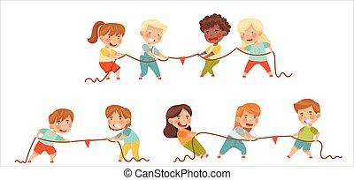niños, o, conjunto, vector, prueba, guerra, poco, juego, tirar, tirón, soga, fuerza