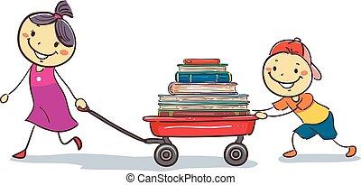 Niños palo tirando de una carreta llena de libros