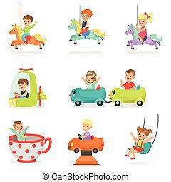Niños pasándoselo bien en un parque de atracciones, listos para el diseño de etiquetas. Dibujos detallados ilustraciones coloridas