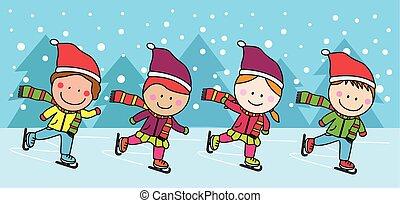 Niños patinadores de hielo