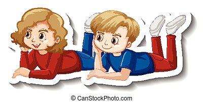 niños, pegatina, caricatura, colocar, pareja, abajo, carácter
