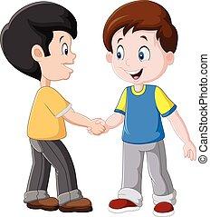 Niños pequeños estrechando la mano