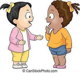 Niños pequeños hablando de ilustraciones