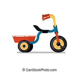 Niños pequeños triciclos aislados icono vectorial