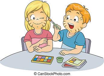 niños, pintura, cara