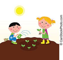 Niños plantando plantas en el jardín