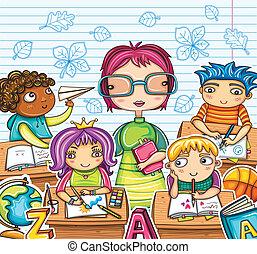 niños, profesor, lindo