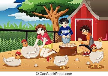 Niños recogiendo huevos de la granja