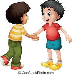 niños, sacudarir las manos