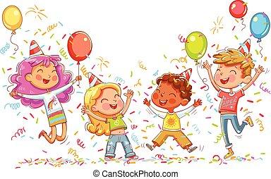 Niños saltando y bailando en la fiesta de cumpleaños