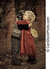 niños, se abrazar