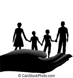 niños, seguro, familia , seguro, padre, mano, madre