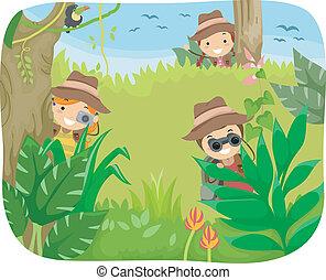 niños, selva, aventura
