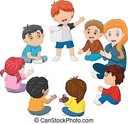 Niños sentados en un círculo leyendo un poema