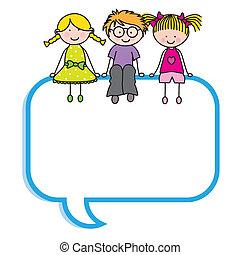 Niños sentados en una burbuja de habla