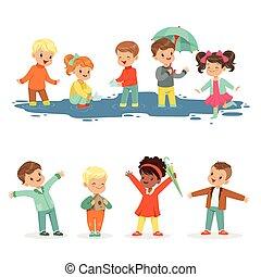 Niños sonrientes jugando en charcos, listos para diseñar etiquetas. Ocio activo para niños. Dibujos detallados ilustraciones coloridas