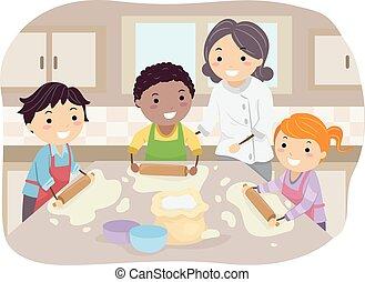 niños, stickman, casero, pizza