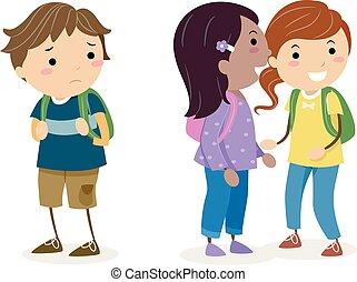 Niños Stickman chismeando ilustraciones