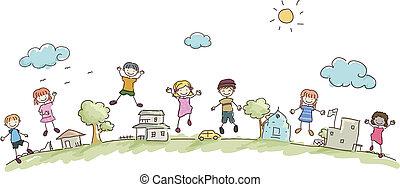 niños, stickman, comunidad