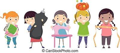 Niños Stickman cosiendo
