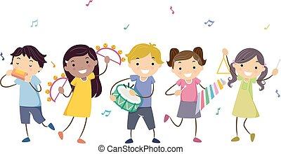 Niños Stickman instrumentos musicales