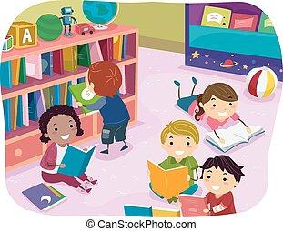 niños, stickman, lectura, preescolar, tiempo