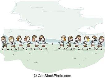 Niños Stickman niñas exploradoras tira de ilustraciones de guerra