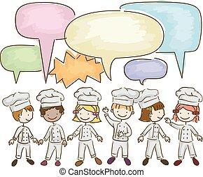 Niños Stickman pequeños chefs hablando ilustraciones