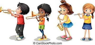 Niños tocando instrumentos musicales