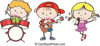 Niños tocando un instrumento musical diferente