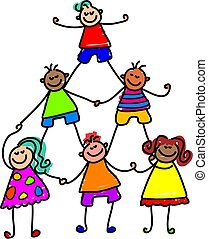 niños, trabajo en equipo