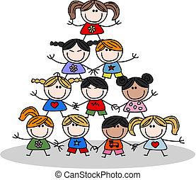 niños, trabajo en equipo, pertenencia étnica