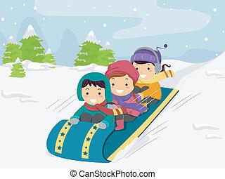 Niños trineos de nieve