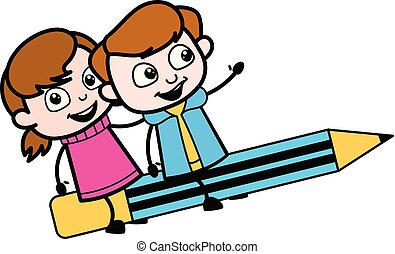 Niños volando sobre lápiz - chica linda dibujo animado ilustración vectorial del personaje