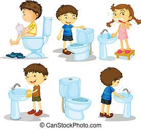 Niños y accesorios del baño