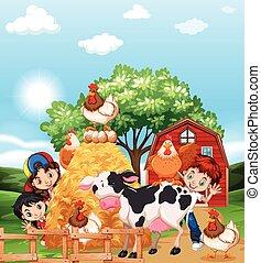 Niños y animales de granja