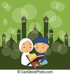 Niños y niñas leen el sagrado quran qoran Islam en la mezquita