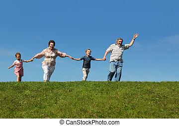 nietos, abuelos, su, corriente, colina, manos de valor en cartera