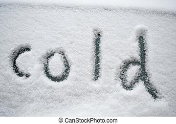 """nieve, """"cold"""", escrito"""
