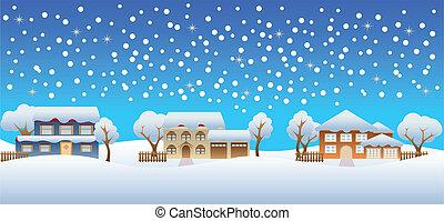 Nieve de invierno en casas