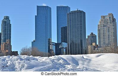 Nieve en Central Park, Nueva York.