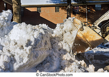 nieve, equipo, camino, eliminación, estacionamiento, winter., coches