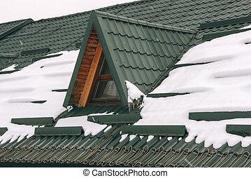 nieve, techo embaldosado