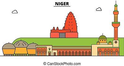 Niger plana de viaje fijo. Ilustración de vectores de la ciudad negra, símbolo, lugares de viaje, puntos de referencia.