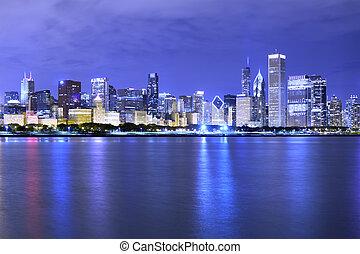 (night, chicago), distrito financiero, vista