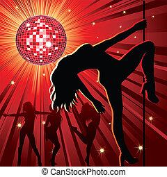 night-club, gente, bailando