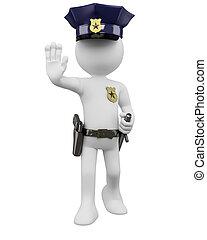 nightstick, policía, ordenar, parada, arma de fuego, 3d