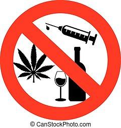 no, alcohol, señal, drogas