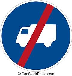 no, camión, vector, ilustración, señal, aislar, plano de fondo, símbolo, blanco, icon.