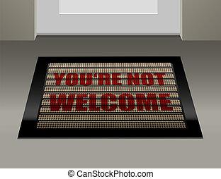 no, felpudo, bienvenida